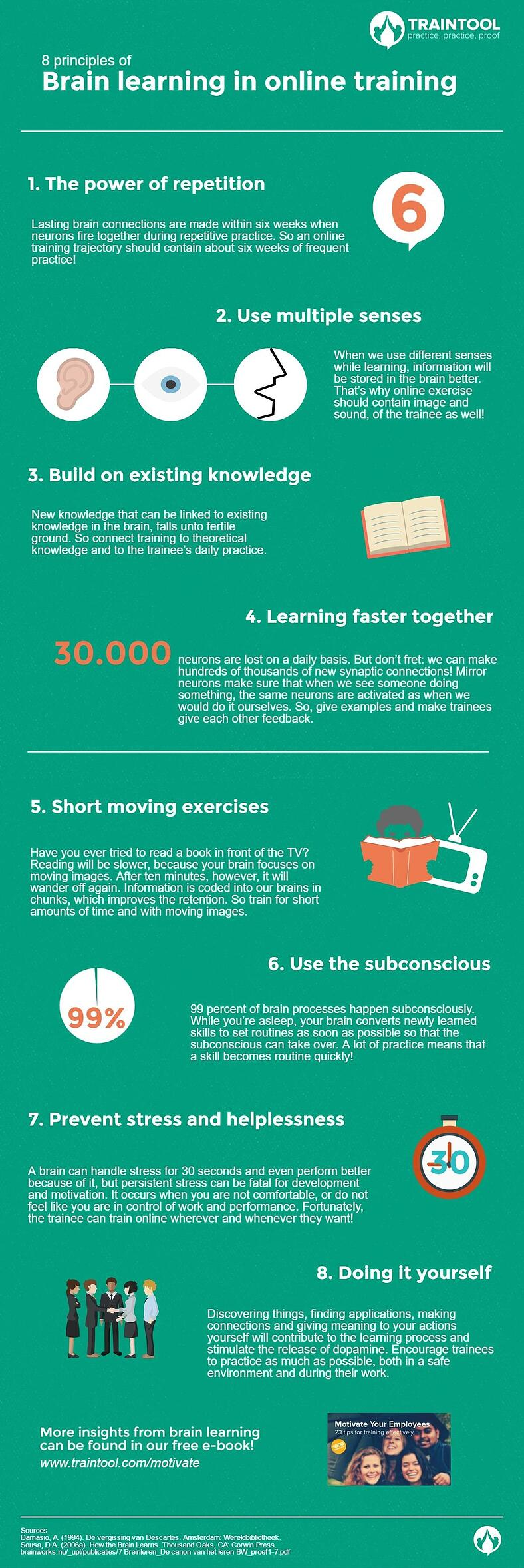 8 Principles Of Brain Learning In Online Training Infographic Traintool